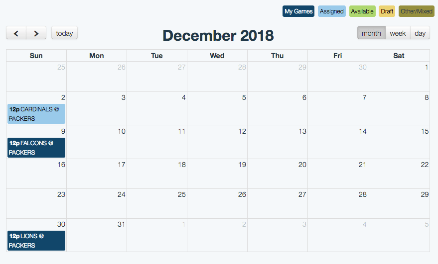 Season Calendar