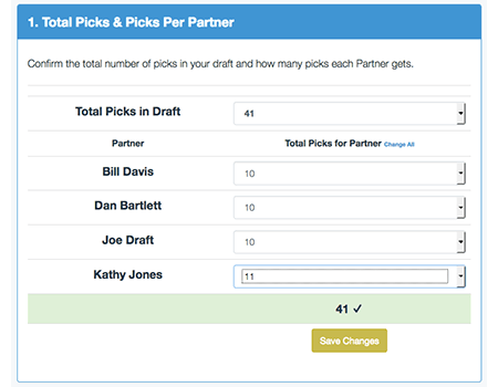 Enter Picks Per Partner (equal or unequal)