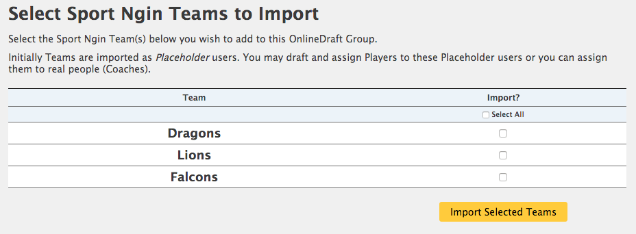 Import Teams from Sports Engine