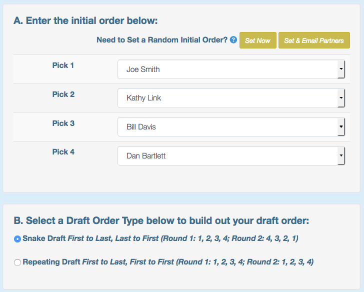 Set the final order