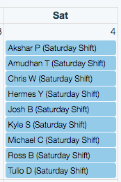 Calendar of Shifts